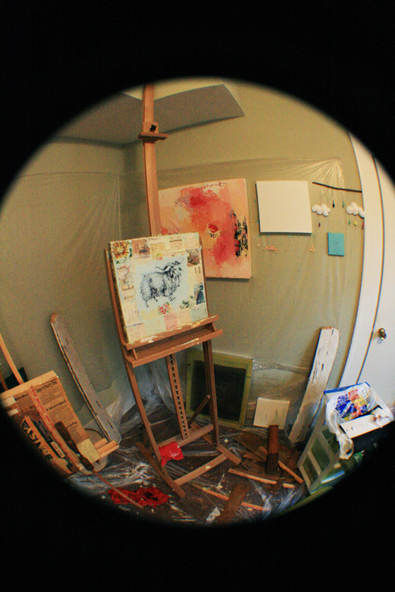 On the Easel, collage/painting in progress by Marissa Avelar