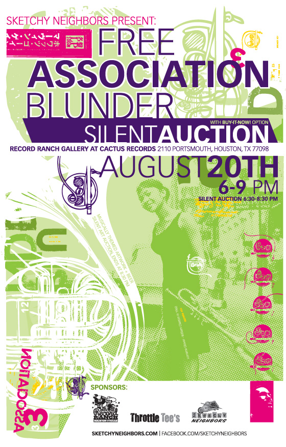 Sketchy Neighbors present: Free Association Blunder, 8/20/2011, 7-10pm Record Ranch Gallery